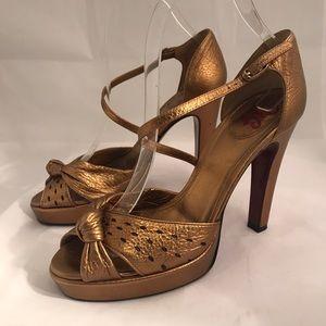 Dolce & Gabbana Gold Open Toe Heels Sz 37.5